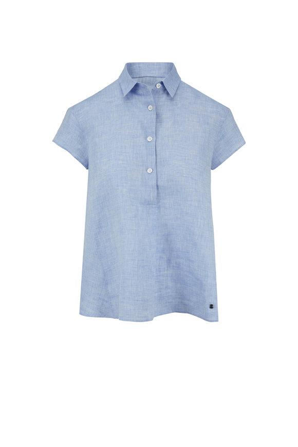 Bogner Laurie Blue Linen Short Sleeve Popover Blouse