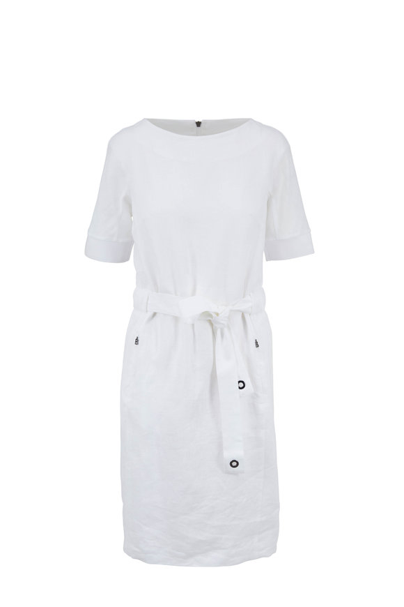Bogner Amelia White Linen Short Sleeve Belted Dress