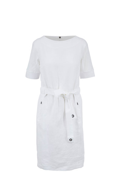 Bogner - Amelia White Linen Short Sleeve Belted Dress