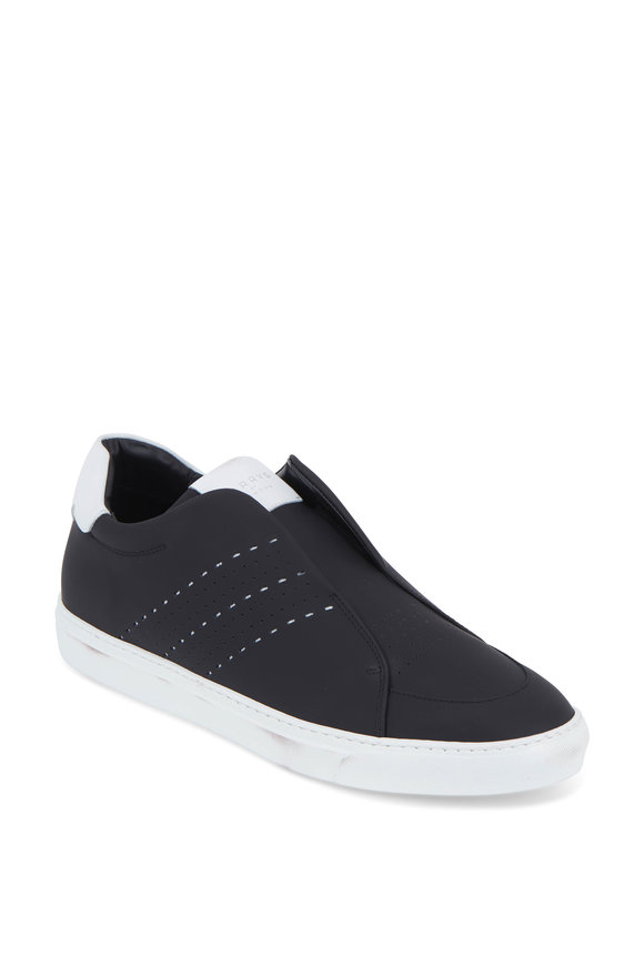 Harrys of London Track Black Tech Leather Slip-On Sneaker