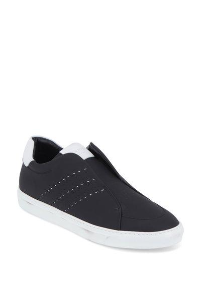 Harrys of London - Track Black Tech Leather Slip-On Sneaker