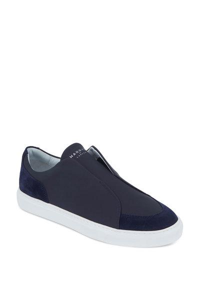 Harrys of London - Jaunty Navy Tech Leather & Suede Slip-On Sneaker