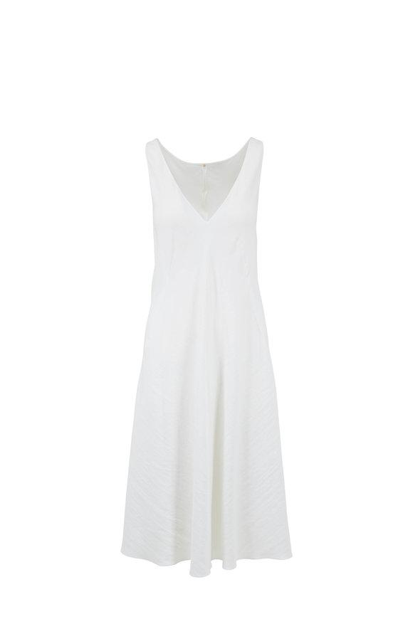 Peter Cohen White Stretch Linen Sleeveless Dress