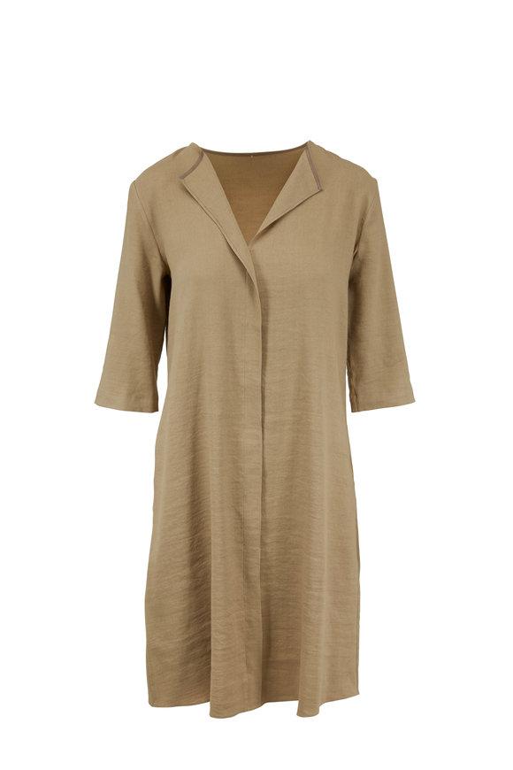 Peter Cohen Beige Stretch Linen Three-Quarter Sleeve Dress