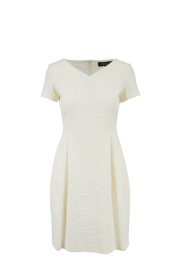 Antonelli Nicaragua Cream Textured Short Sleeve Dress