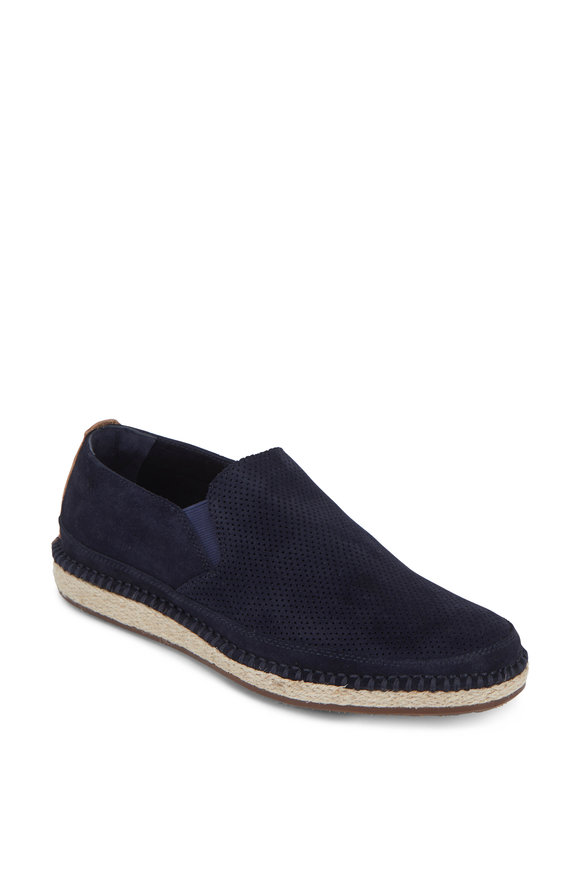Trask Braxton Navy Blue Suede Loafer