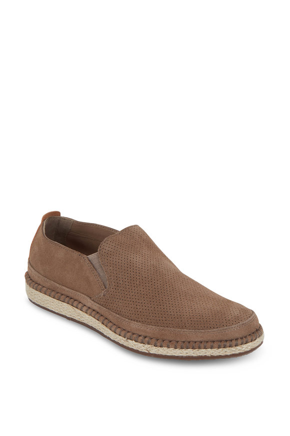 Trask Braxton Taupe English Suede Loafer