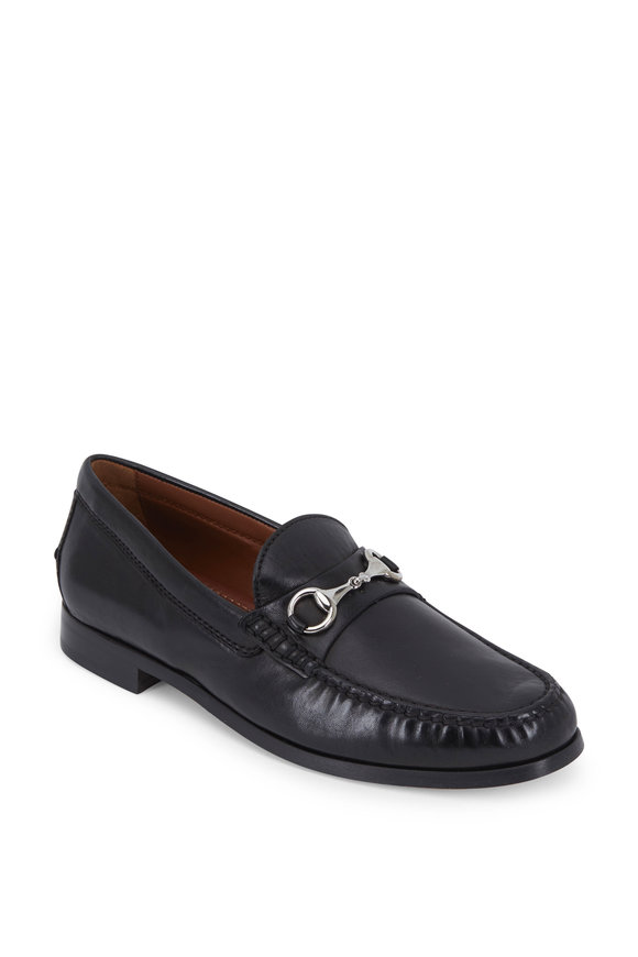 Trask Seaton Black Leather Bit Loafer