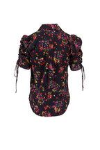 0a25a18504b4b7 Veronica Beard - Carmine Black Silk Floral Short Sleeve Blouse ...