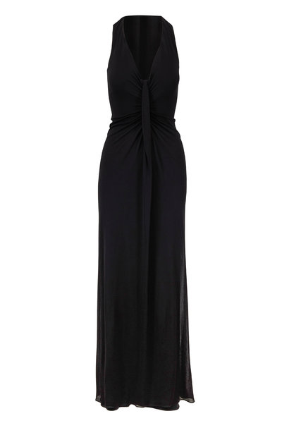 Tom Ford - Black Jersey Front-Knot Sleeveless Gown