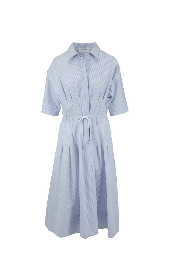 Thom Browne Light Blue & White Striped Drawstring Shirtdress