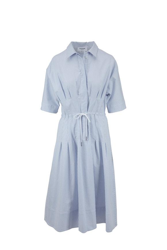 Thom Browne Light Blue & White Striped Drawstring Shirtdress