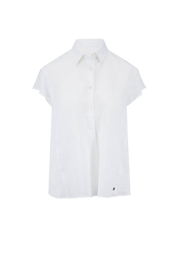 Bogner Laurie White Linen Short Sleeve Popover Blouse