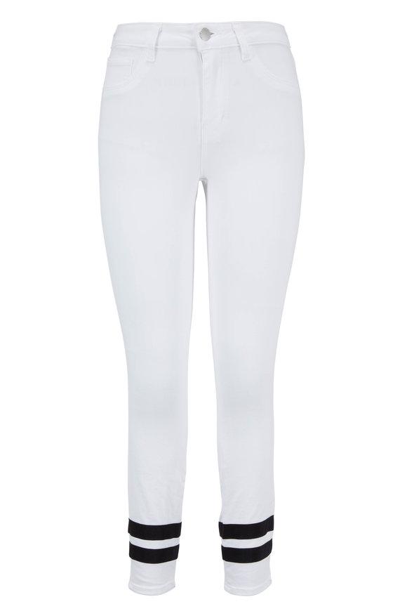 L'Agence Margot White Striped Cuff Ankle Jean