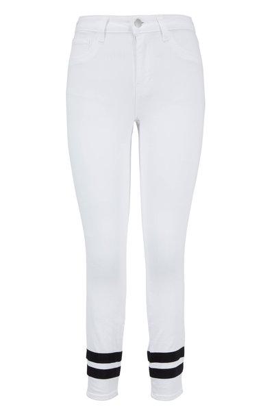 L'Agence - Margot White Striped Cuff Ankle Jean