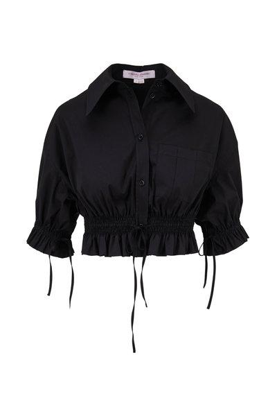 Carolina Herrera - Black Short Sleeve Tie-Detail Cropped Blouse