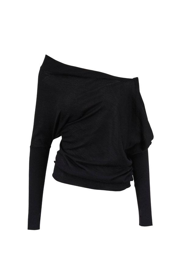 Tom Ford Black Cashmere Off-The-Shoulder Sweater