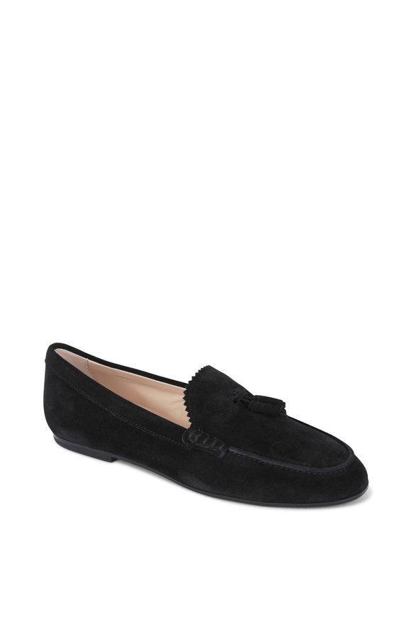 Tod's Black Suede Tassel Loafer