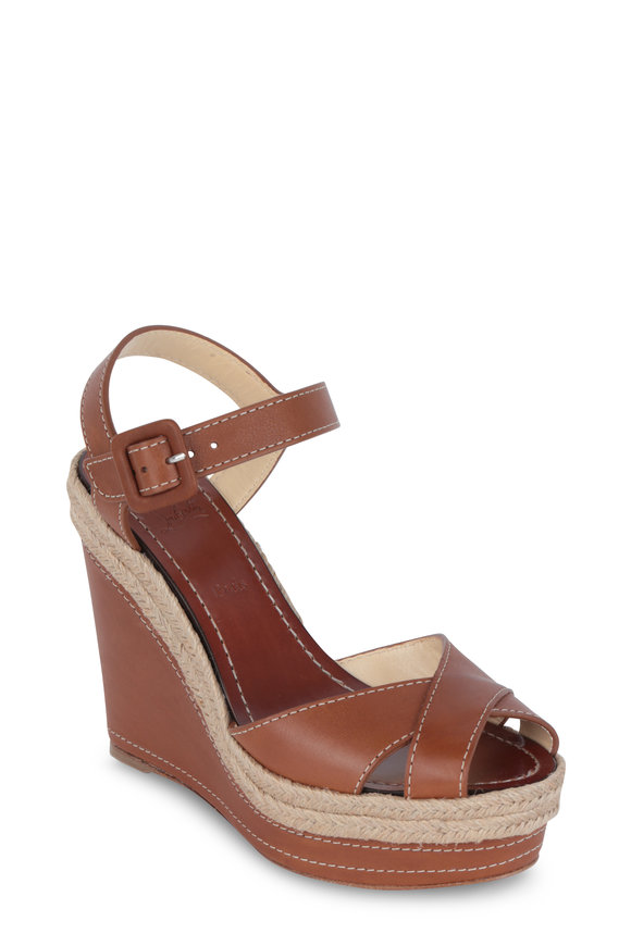 Christian Louboutin Almeria Brown Leather Wedge Sandal, 120mm