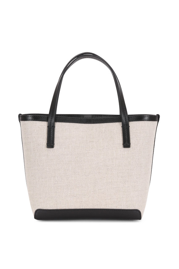 The Row Natural & Black Canvas Small Park Tote