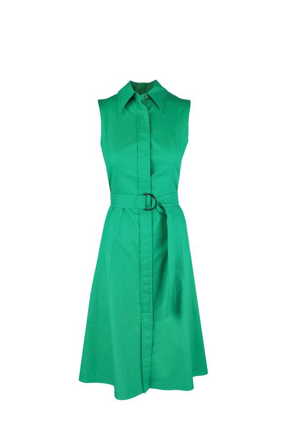 Akris Punto Emerald Green Stretch Poplin Belted Shirtdress