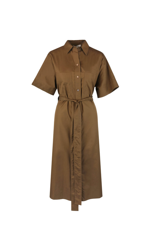 Vince Olive Green Belted Maxi Shirtdress