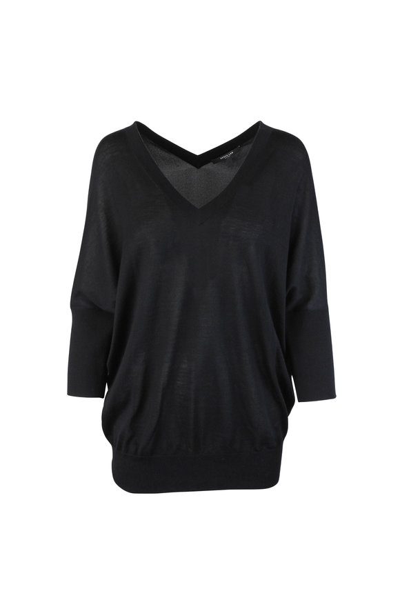 Derek Lam Black Cashmere & Silk Back Batwing Sweater