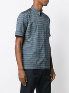 Paul Smith - Green Geometric Print Short Sleeve Sport Shirt
