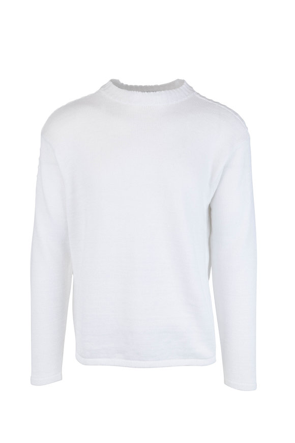 Inis Meain Knitting Co. White Linen Knit Crewneck Pullover
