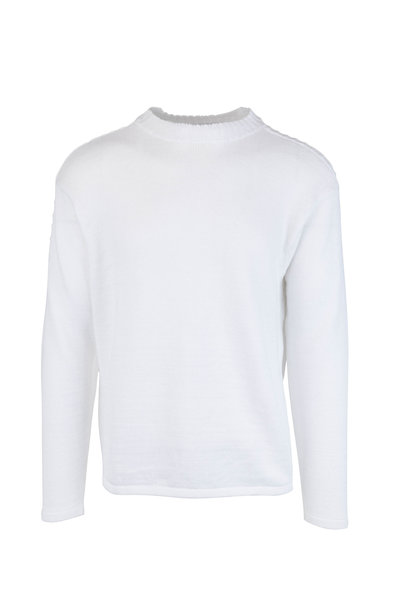 Inis Meain Knitting Co. - White Linen Knit Crewneck Pullover