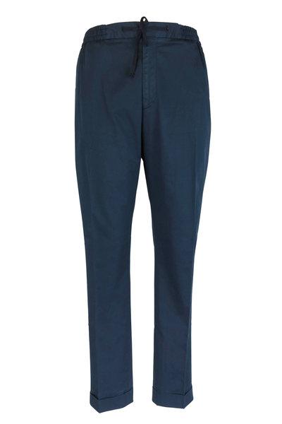 Officine Generale - Navy Blue Knit Jogger Pant