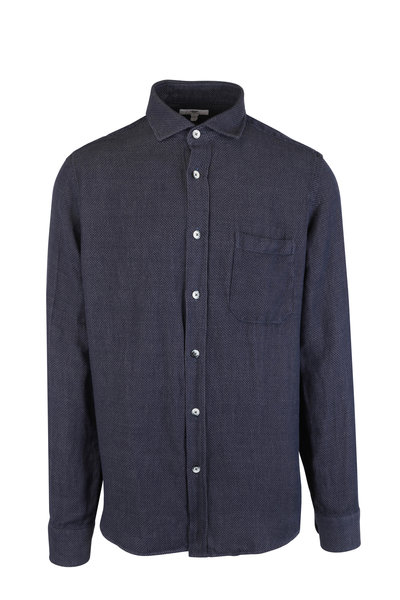 Inis Meain Knitting Co. - Blue Textured Linen & Cotton Overshirt