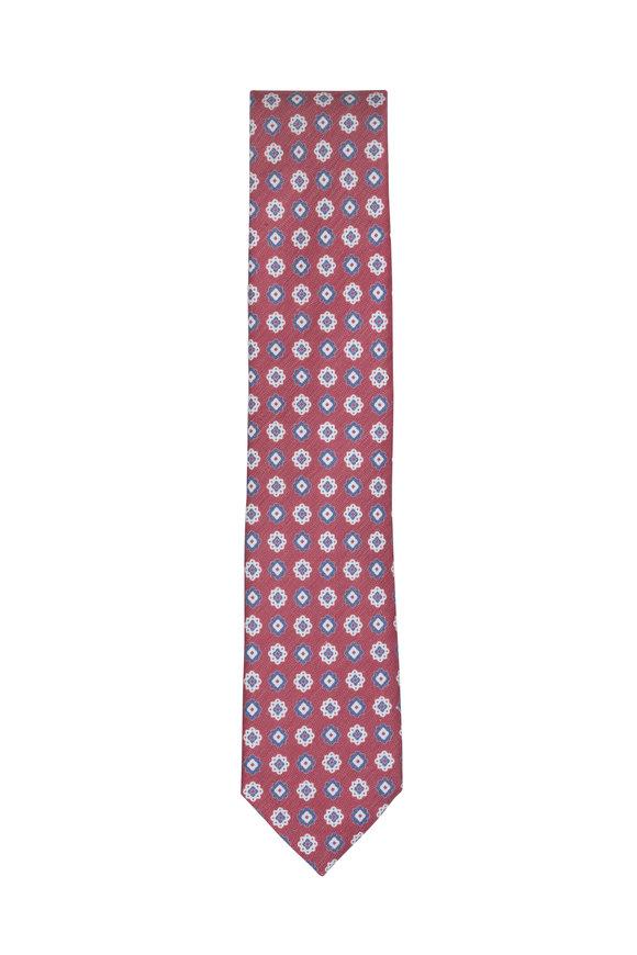 Ermenegildo Zegna Burgundy & Blue Medallion Silk & Linen Necktie
