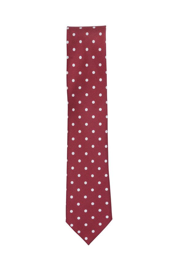 Ermenegildo Zegna Burgundy & White Dot Silk Necktie