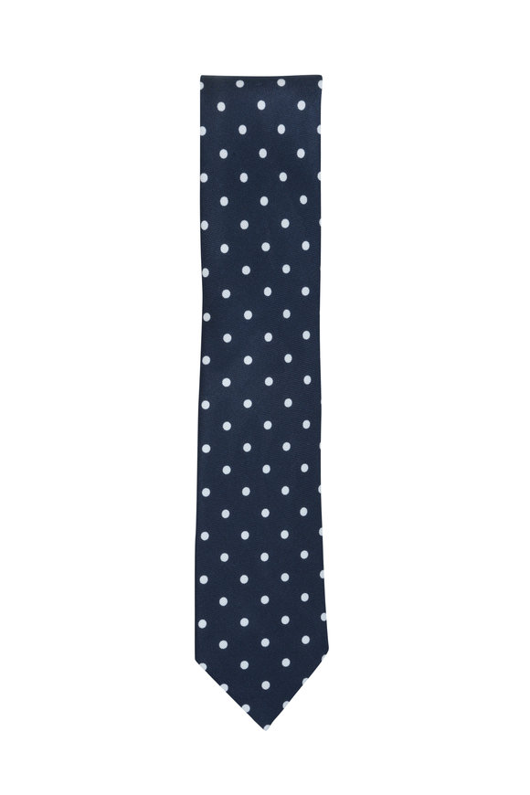 Ermenegildo Zegna Navy Blue & White Dot Silk Necktie