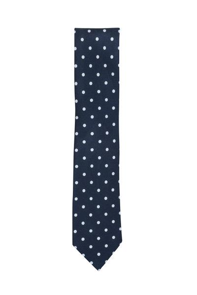 Ermenegildo Zegna - Navy Blue & White Dot Silk Necktie