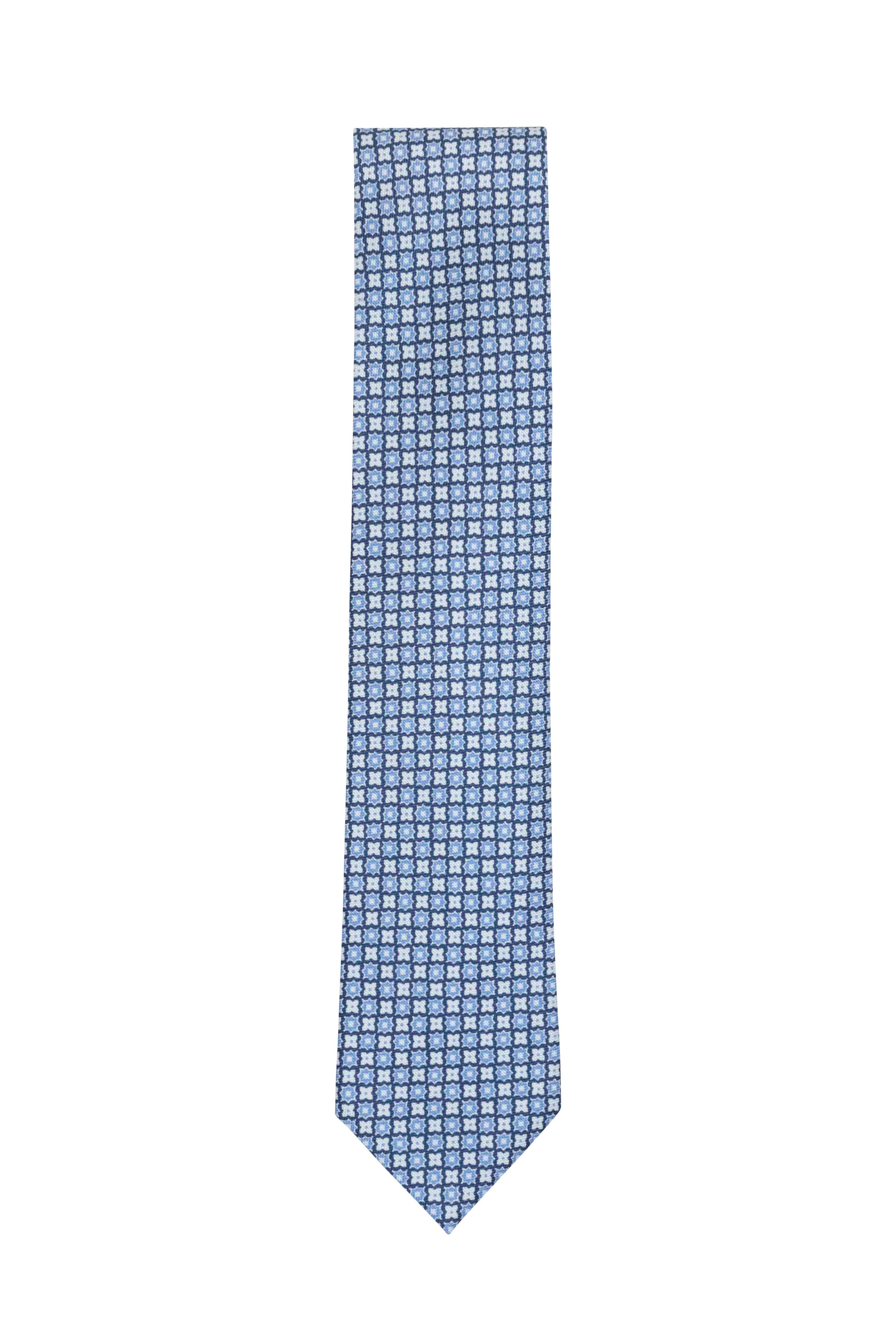e2f5aa25 Ermenegildo Zegna - Blue & White Floral Silk Necktie   Mitchell Stores