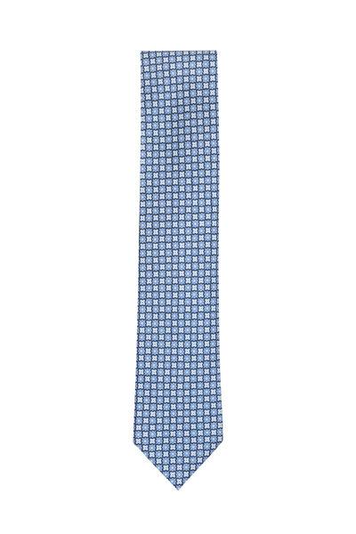 Ermenegildo Zegna - Blue & White Floral Silk Necktie