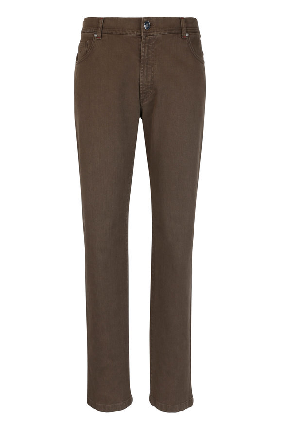 Marco Pescarolo Nerano Brown Stretch Cotton Jean