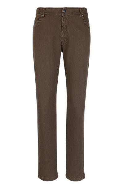 Marco Pescarolo - Nerano Brown Stretch Cotton Jean