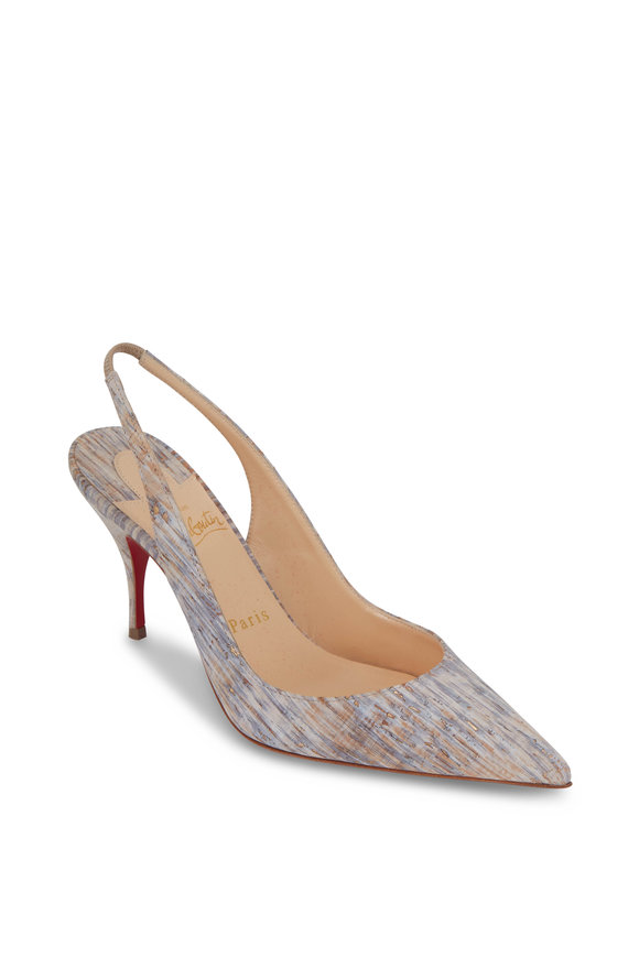 Christian Louboutin Clare Naturalle Cork Slingback, 80mm