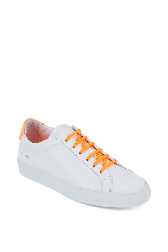 WOMAN by COMMON PROJECTS Retro White Leather & Fluorescent Orange Sneakers
