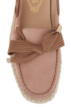 Tod's - Gommino Light Pink Suede Raffia Loafer