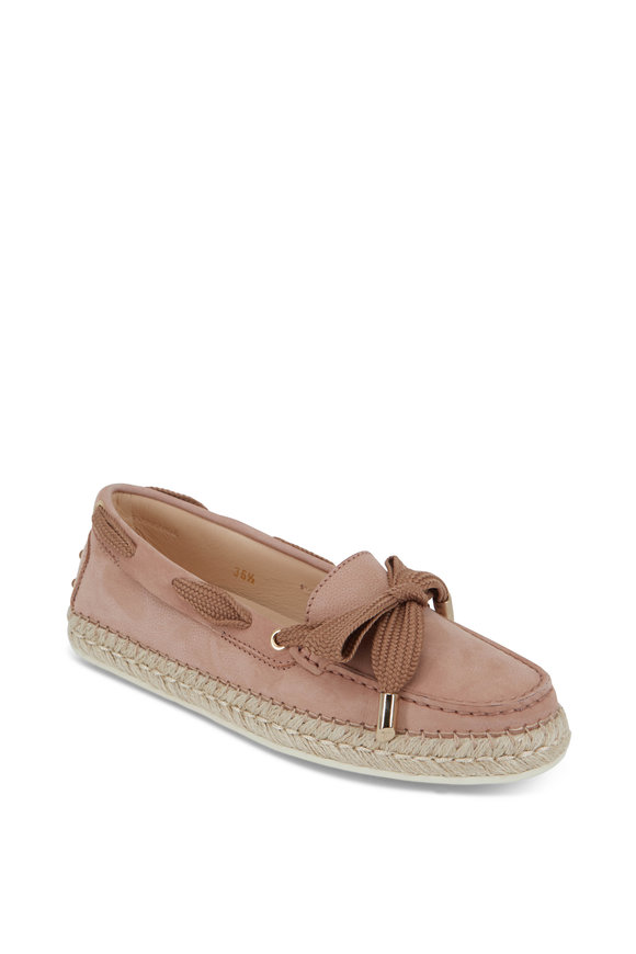 Tod's Gommino Light Pink Suede Raffia Loafer