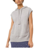 Michael Kors Collection - Pearl Gray Cotton & Cashmere Cap Sleeve Hoodie