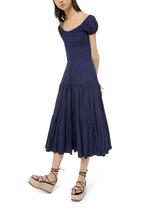 Michael Kors Collection - Maritime Cotton Crush Cap-Sleeve Tiered Dress