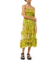 Michael Kors Collection - Green & Yellow Silk Chiffon Daisy Floral Sundress