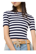 Michael Kors Collection - Maritime & White Striped Ribbed T-Shirt