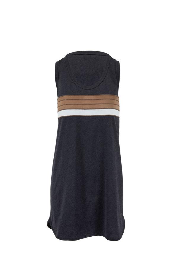 Brunello Cucinelli Exclusive Onyx Bi-Color Striped Sleeveless Dress