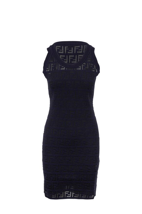 Fendi Navy Blue Knit Logo Embossed Sleeveless Dress